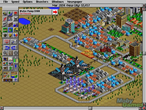 Simcity 2000 Screenshot with earthquakes