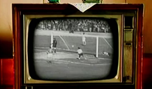 Old TV with football